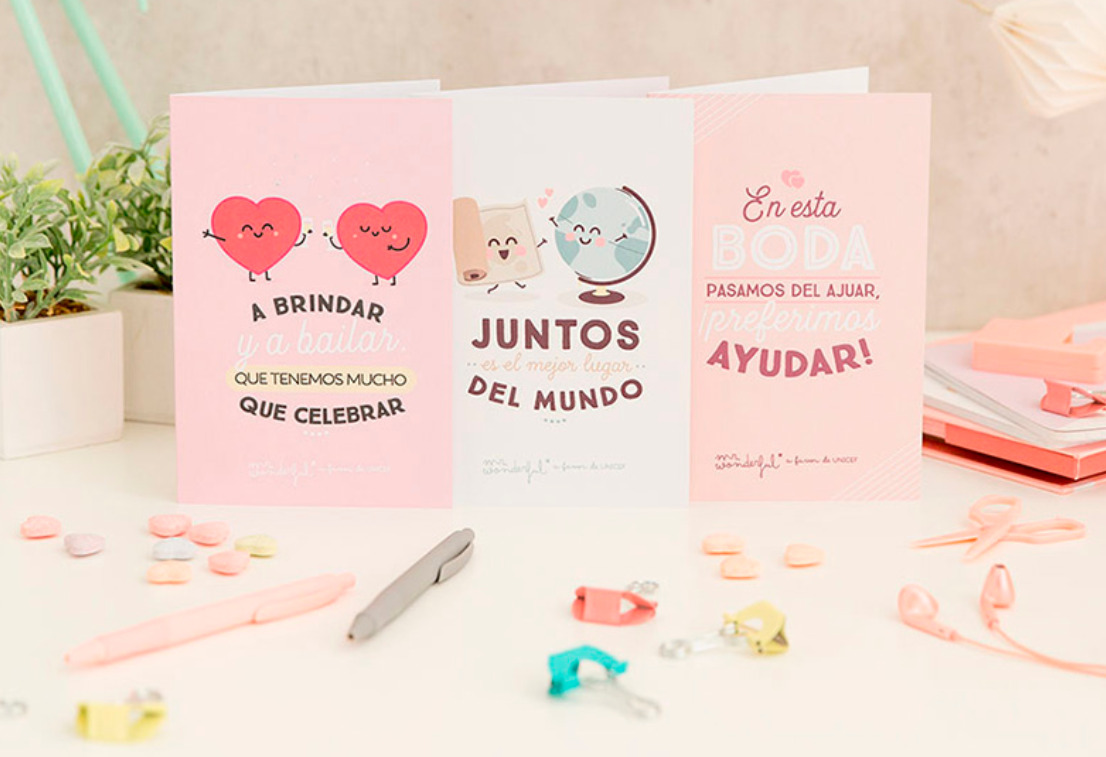 tarjetas solidarias bodas mr. wonderful essencia novias regalos invitados bodas