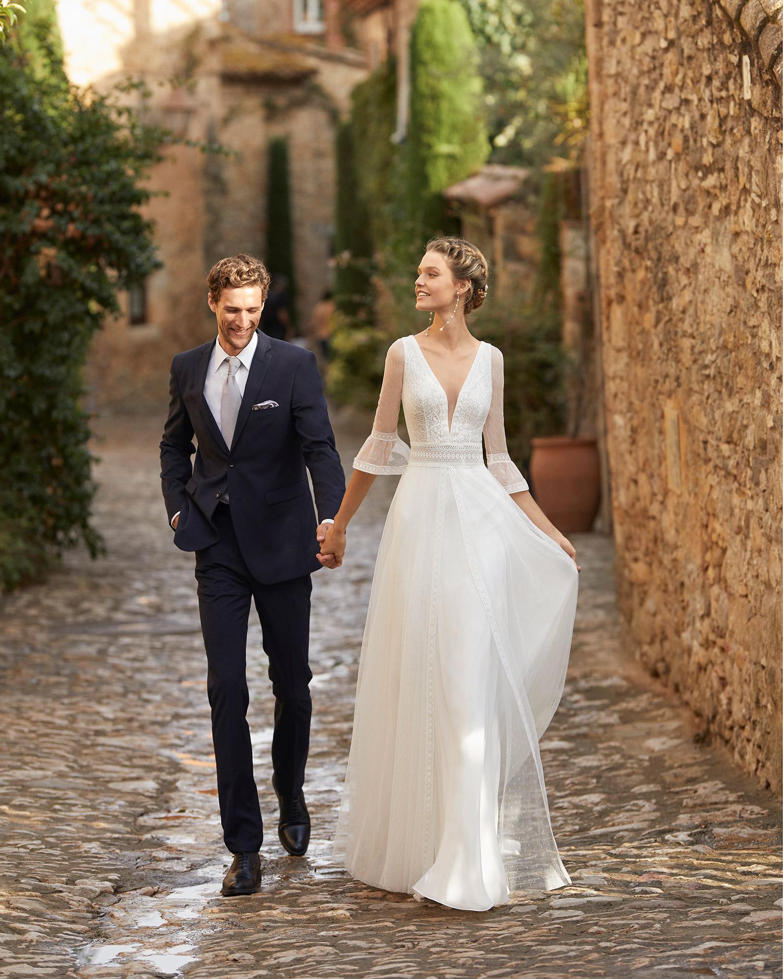 Alma Novia modelo Meyer colección 2022 rosa clará essencia novias
